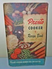 Vintage1940s, PRESTO COOKER RECIPE BOOK, SB, Early Color Illustrations, Nice