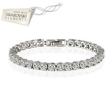 gold plated wedding crystal tennis bracelet made with Swarovski Elements