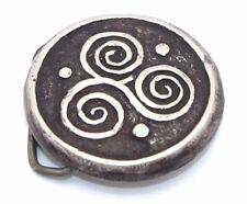BIG Vtg Modernist TRIBAL Silver Tone CROP CIRCLE Swirl Pattern Round Belt Buckle