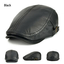 Luxury Men's Sheepskin Leather Gatsby Newsboy Cap Golf Flat Cabbie Beret Black