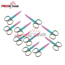 NAIL Cuticle SCISSORS Rainbow CVD Manicure Pedicure Cuticle Beauty Tools 10 PCS