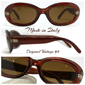 Made IN Italy Sunglasses Woman Ovale rettangolare Brown Pearl Vintage 90