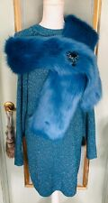 NWT Blue Silver Metallic Sweater Dress Size M With Scarf And Brooch