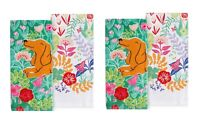Celebrate Spring Together Kitchen Dish Towels DOG IN FLOWERS 4-Piece Set NEW