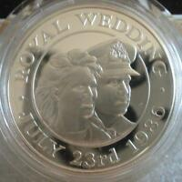 ST. HELENA & ASCENSION 50 P 1986 Silver Proof Wedding of Prince Andrew and Sarah