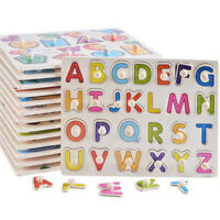 Wooden Letters ABC Alphabet Number Puzzle PreSchool Learning Jigsaw Toy LE
