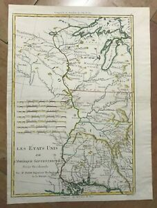 LOUISIANA MISSISSIPI 1780 by RIGOBERT BONNE ANTIQUE MAP IN COLORS 18TH CENTURY