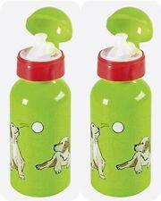 2 Stk Trinkflasche Sportflasche Grün Hund Kind Schule Kindergarten Flasche Alu