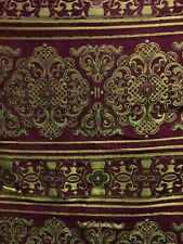 BURGUNDY GOLD DAMASK CHENILLE UPHOLSTERY FABRIC (54 in.) Sold BTY