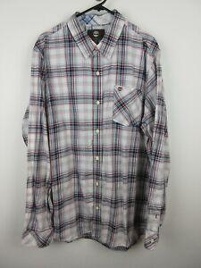 Timberland Mens Shirt Size XL Long Sleeve Button Up Regular Fit White Grey Plaid