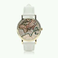 Hot  White Fashion World Map belt fashion quartz watch Wristwatch