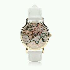 Hot  White Fashion World Map belt fashion quartz watch Wristwatch