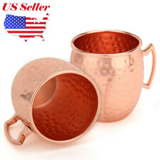 2x Hammered Moscow Mule Mug Drinking Cup 100% Pure Solid Copper Brass 16 Oz Uu