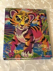 RARE Vintage Lisa Frank 3 Ring Binder Rainbow Tiger Cub Glitter Smoke-free