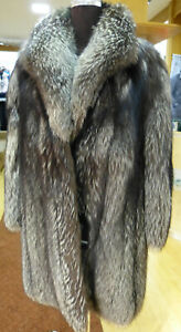 Silver fuchs Jacket Real Fur Size 2XL Real Silver Fox Rarely Mint fur Coat