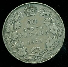 1929 Canada, King George V, Silver Fifty Cent Piece   L272