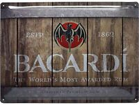 Bacardi Rum Kiste Groß Geprägtes Metall Zeichen 400mm x 300mm (Na )