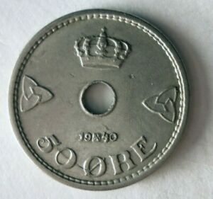 1940 NORWAY 50 ORE - High Quality Coin - FREE SHIP - Bin #317
