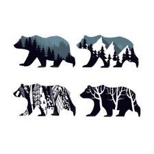 Ours Polaire Art Abstrait Animal Sticker Adhésif Vinyle Stickers Muraux