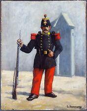 """Ancien Tableau """"Soldat"""" Peinture Huile Antique Oil Painting"""