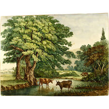 Unframed J K Morgan Original Old Pastoral Cattle Landscape Watercolour Painting
