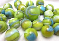 25 Glass Marbles MERMAID Green/White/blue game vtg style Shooter Swirl
