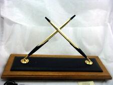 SALE! Retired Cross Walnut+Leather Double Desk Set 10K BP+Pencil #5301 USA MINT
