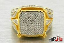 Lab Made Simulated Diamond Mens Ring .925 Silver Yellow Tone Bling Icy