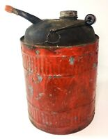 Gasoline Can Red Metal Wood Handle Vintage