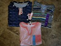 New Womens Liz Sport Liz Claiborne Short sleeved Top Shirt Striped S L XL 2XL