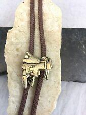 Vintage Southwest Bronze Tone Metal Western Horse Saddle Concha Bolo Tie