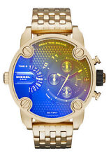 Diesel Mens Watch Little Daddy Gold Tone Iridescent Dual Time Chrono DZ7347