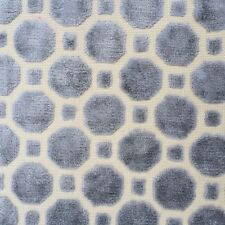 ROBERT ALLEN GEOMETRIC CUT VELVET UPHOLSTERY FABRIC VELVET GEO/GRAY BY THE YARD