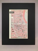 City Map of New Orleans, Louisiana 1958 Mid Century Black Matted 8x10 Art Print