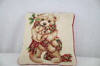 """Teddy Bear Design Needlepoint Decorative Accent Pillow Floral -10"""" Square"""