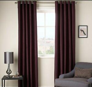 John Lewis Purple Faux Silk Eyelet BLACKOUT LINED Curtains 228 x drop 182cm