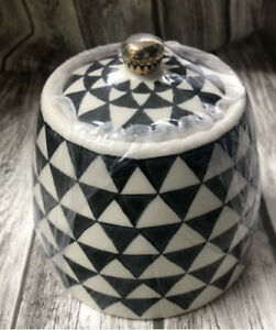Thyme & Table Covered Sugar Bowl Geometric Sold Out Ava Ecclectic Boho Holiday