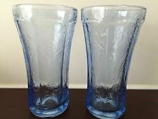 Vintage Blue Tint Depression Tall Tumblers Glass Cups Floral Set of 2