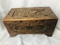 Hand Tooled Wood Chest Antique Primitive Man Jungle Leaves Carved Casket Box