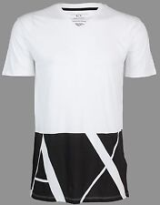 Armani Exchange Mens S/S T-Shirt Hem Print Designer White Casual S-2Xl $45