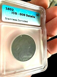 1802 Draped Bust Large Cent ICG G06 ( Stemless)