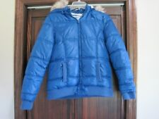 "Justice 18 blue puffer coat ""fur"" hood"