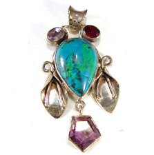 WHIMSICAL VINTAGE FACE IN CHRYSOCOLLA AND AMETHYST, STERLING SILVER PENDANT