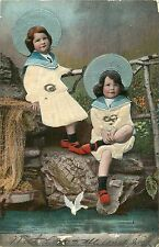 GIRLS DRESSED IN SAILOR COLLARED OUTFITS WITH LARGE HATS UDB POSTCARD c1907