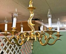 Vintage Italian Gold Plated Over Bronze 6-Arms Pagoda Chandelier & Canopy