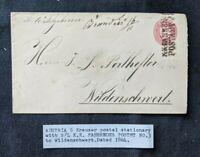 1864 Austria 5kr Postal Stationary Cover Wildenschwert SLKK Fahrendes Postmark