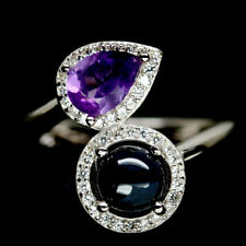NATURAL 6RAYS STAR BLUE SAPPHIRE, AMETHYST & CZ STERLING 925 SILVER RING SZ 6