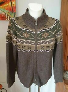 Fedeli 100% Cashmere Heavy Thick Full Zip Fair Isle Cardigan 54 L XL Italy $2200