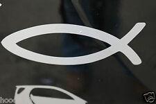 2 x Auto-Aufkleber Weiß Fisch (Ichthys)  Jesus Christus, Gottes Sohn 13 x 4,8 cm
