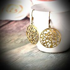 Round Spiral Brass Gold Plated Tribal Hoop Earring Vintage Women Circles